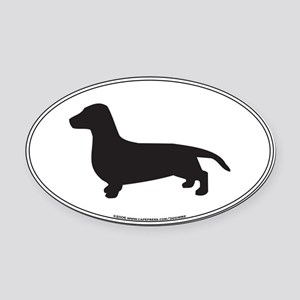 Dachshund Silhouette Oval Car Magnet