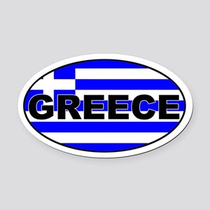 Greek / Greece Flag Oval Car Magnet