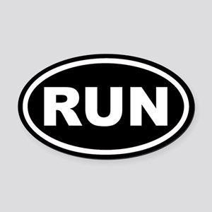RUN Running Black Euro Oval Car Magnet