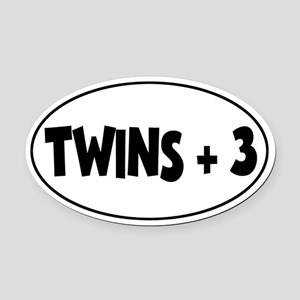 Twins Plus Three - Oval Car Magnet