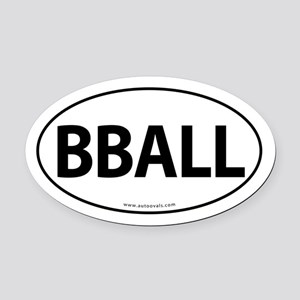 BBALL Traditional Auto Oval Car Magnet -White (Ova