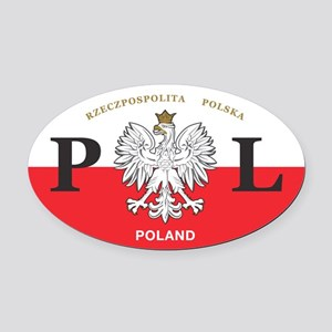 PL Car Decal - Polish Hritage - Oval Car Magnet