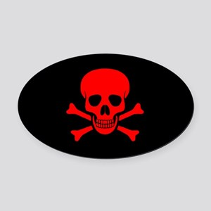 Skull & Crossbones (red) Oval Car Magnet