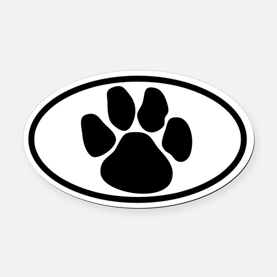 Dog Paw Oval Car Magnet