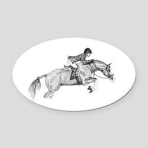 Hunter Pony Art Oval Car Magnet