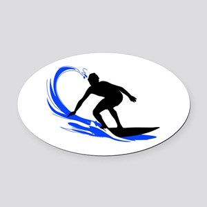 Wave Surfing Oval Car Magnet