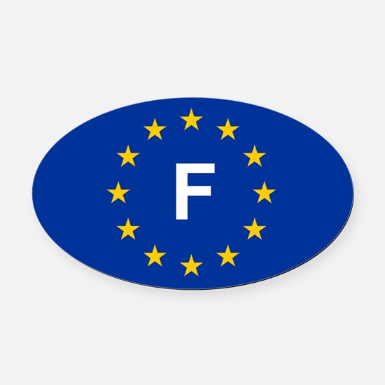 EU France Oval Car Magnet
