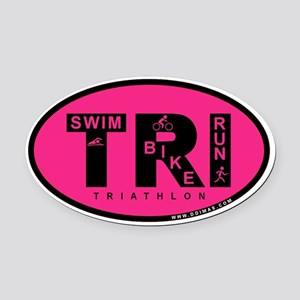 Thiathlon Swim Bike Run Oval Car Magnet