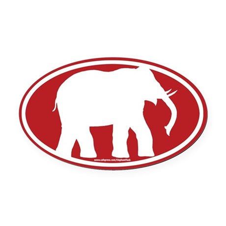 Red Elephant Oval Car Magnet