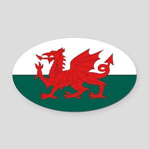 Welsh Flag Oval Car Magnet