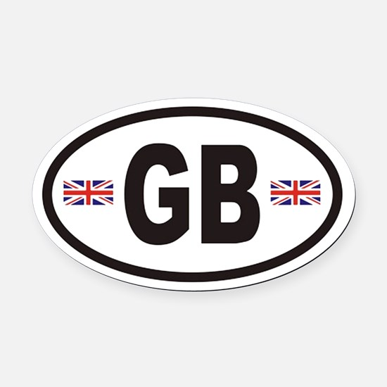 GB Great Britain Euro Style Oval Car Magnet