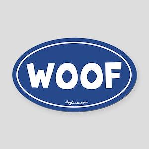 Woof (Blue) Oval Car Magnet