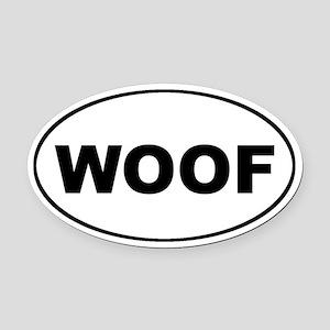 WOOF Dog Euro Oval Car Magnet