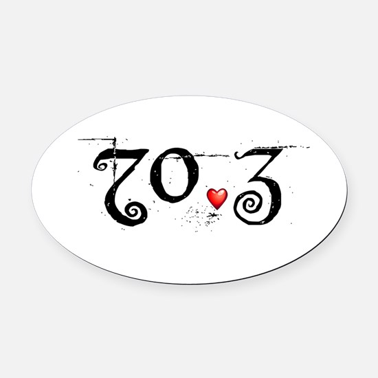 Cute 70.3 ironman Oval Car Magnet
