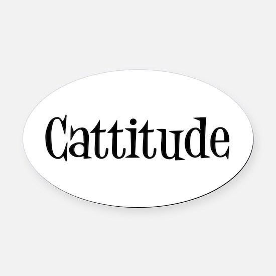 Cattitude Oval Car Magnet