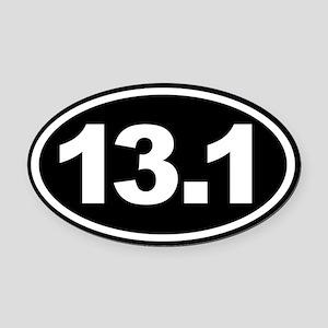 13.1 Half Marathon Oval Euro Oval Car Magnet Black