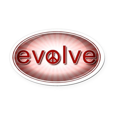 Evolve with Peace - Oval Car Magnet