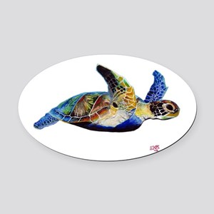 Turtle Oval Car Magnet