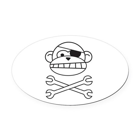 Pirate Monkey Oval Car Magnet