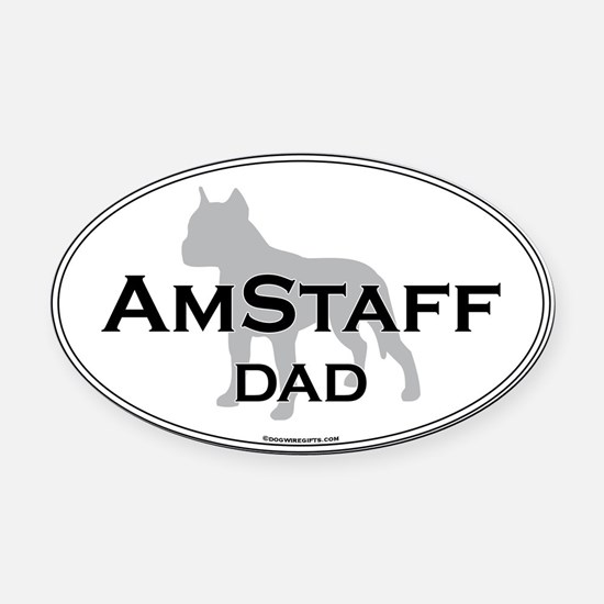 Am Staff Terrier DAD Oval Car Magnet