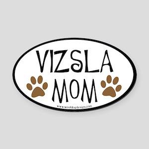 Vizsla Mom Oval (black border) Oval Car Magnet