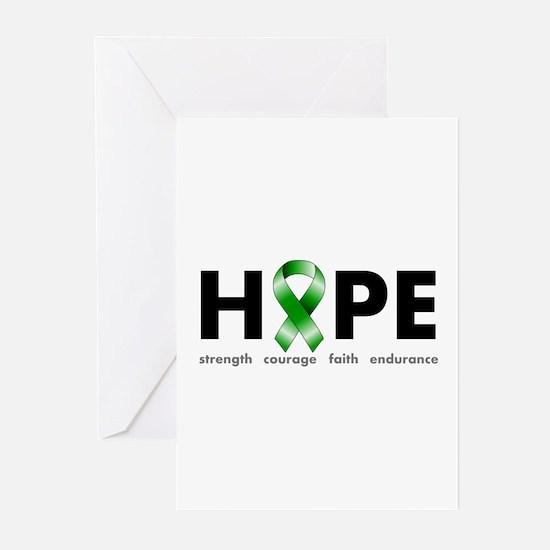 Green Ribbon Hope Greeting Cards (Pk of 20)