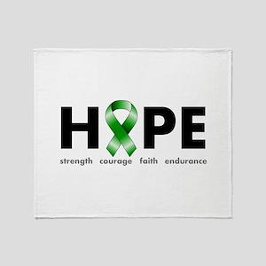 Green Ribbon Hope Throw Blanket