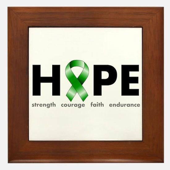 Green Ribbon Hope Framed Tile