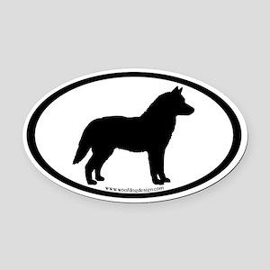 Siberian Husky Dog Oval Oval Car Magnet