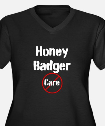 Honey Badger Cares Women's Plus Size V-Neck Dark T