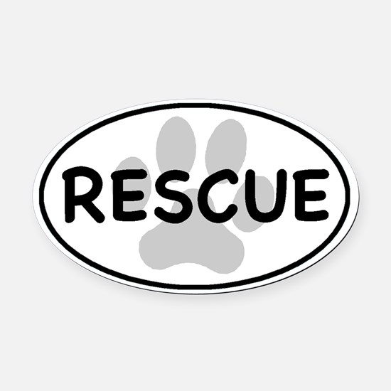 Rescue Paw White Oval Car Magnet (Oval)