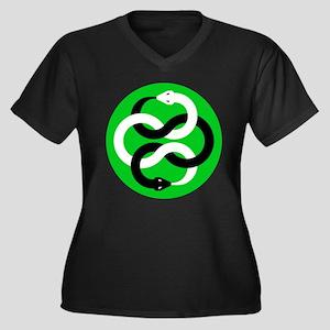 Double Oroborous (Green) Women's Plus Size V-Neck
