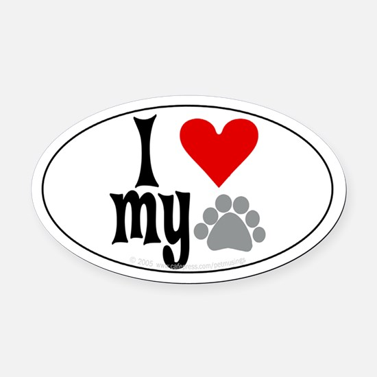 love Hemingway cat Oval Car Magnet
