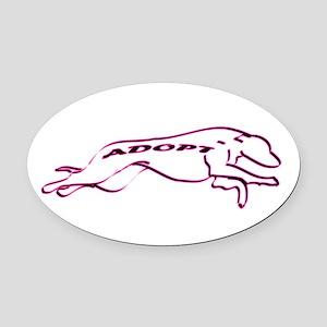 Adopt a Greyhound (Neon) Oval Car Magnet