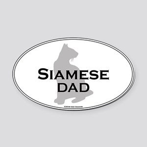 Siamese Dad Oval Car Magnet