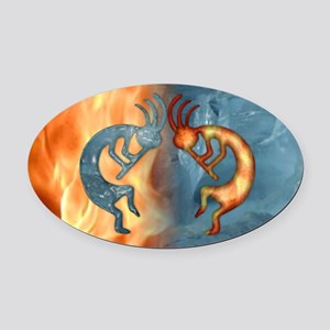 Kokopelli Fire & Ice (NEW) Oval Car Magnet