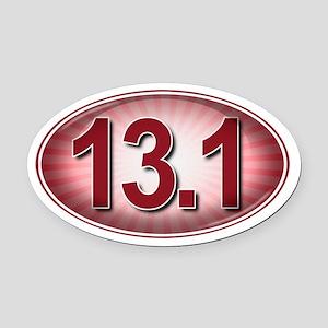 RED Burst Marathon Oval Car Magnet