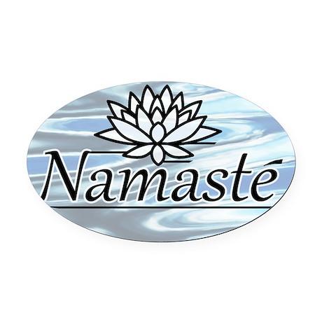 Namaste Lotus Ripple Oval Car Magnet