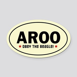 AROO - Obey the Beagle! Oval Car Magnet
