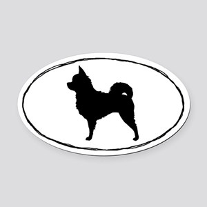 Long Hair Chihuahua Oval Car Magnet