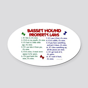 Basset Hound Property Laws 2 Oval Car Magnet