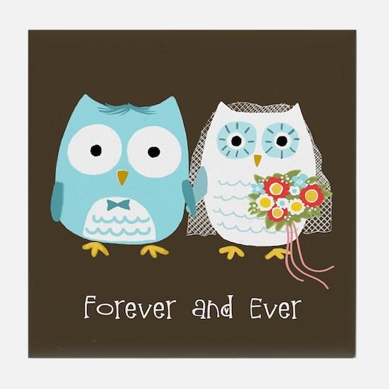 Owls Wedding Tile Coaster
