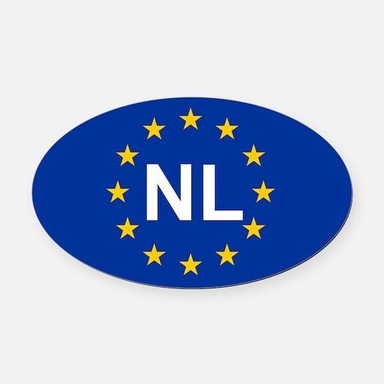 EU Netherlands Oval Car Magnet