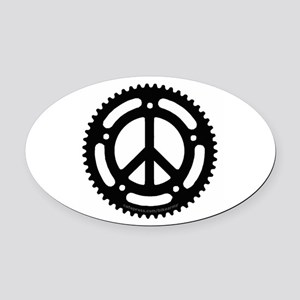 Peace Chainring Oval Car Magnet