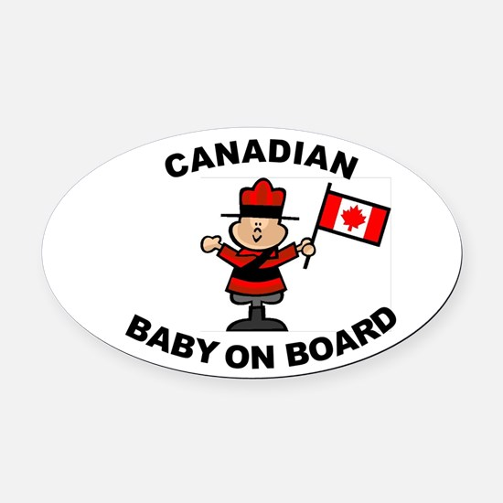 Canadian Baby on Board Oval Car Magnet