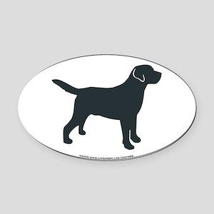 Labrador Retriever Silhouette Oval Car Magnet