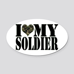 I Love My Soldier Oval Car Magnet