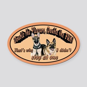 Double The Fun Oval Car Magnet