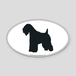 Wheaten Terrier Silhouette Oval Car Magnet