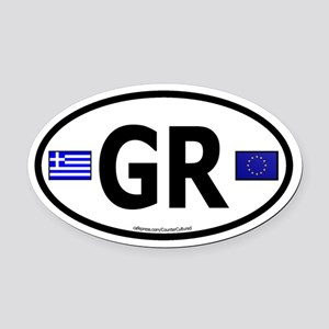 Greek Euro Oval Car Magnet